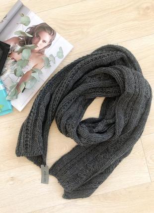 Серый вязаный шарф унисекс