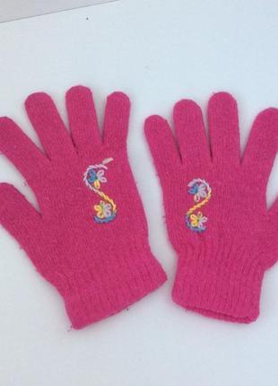 Шерстяные детские перчатки с вышивкой