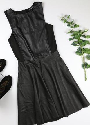 Комбинированное кожаное платье с юбкой клеш