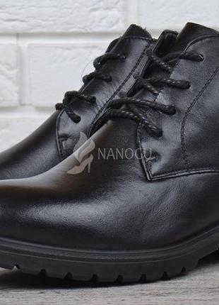 Ботинки кожаные турция женские на шнуровке черные city comfort на каблуке