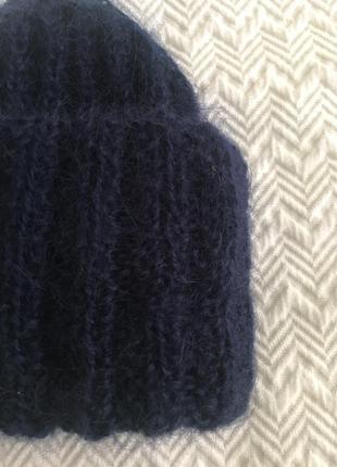 Шапка мохеровая синяя4 фото