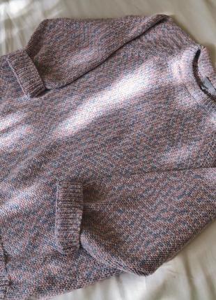 💖крутой укороченый пудровый двухцветный вязанный свитер/джемпер кроп💙