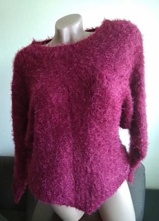 Кофта пуловер вязаный джемпер свитер травка размер л 12