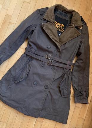 Superdry удобное непродуваемое серое вощёное пальто