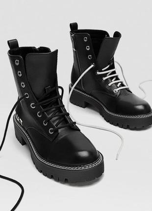 Новые кожаные ботинки stradivarius с  двойной шнуровкой бирка размер 37