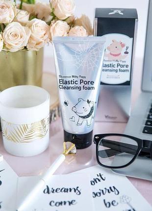 Глубоко очищающая поры пенка milky piggy elastic pore cleansing foam корейская косметика
