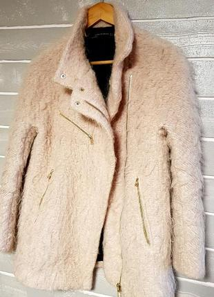 Крутое пудровое бойфренд- пальто от zara