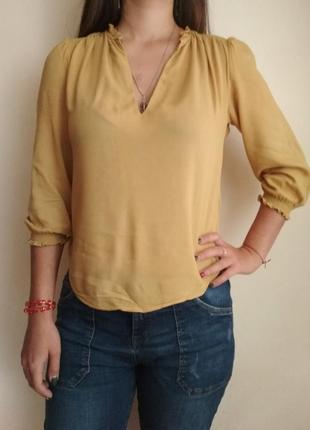 Блуза горчичного цвета, вискоза