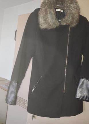 Черное пальто косуха с вставками под кожу италия