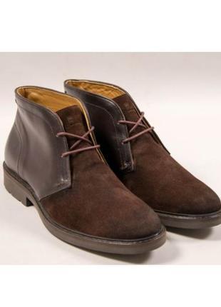 Мужские ботинки massimo dutti с натурального замша и кожи