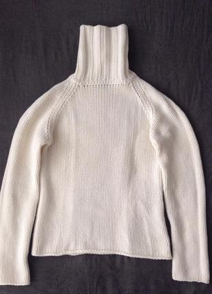 Свитер гольф из белой шерсти. m-l(пог-48). шерсть woolmark®