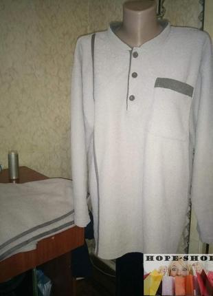 Домашний костюм,махровая с начёсом  пижама, брюки и футболка с длинным рукавом,