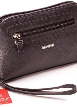 Женская косметичка черная из натуральной кожи butun 665-004-001