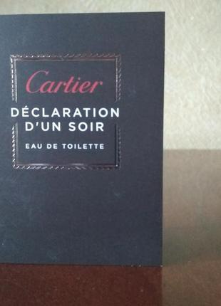 Туалетная вода declaration d'un soir cartier 1,5 мл.