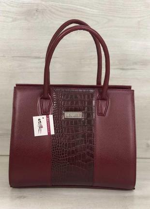 Бордовая деловая сумка саквояж классическая прямоугольная с ручками