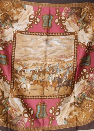 Платок art of the scarf tie rack. италия. картина  лошади скачки