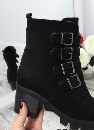 Ботинки утеплённые на осень/зиму каблук 6 см