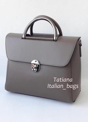 Цвет тауп.  элегантная кожаная сумка портфель. италия.