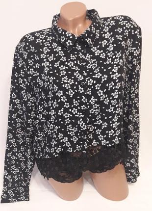 Вискозная рубашечка с кружевной отделкой низа