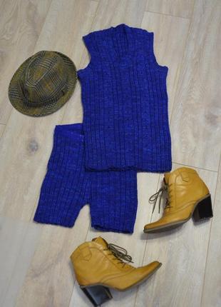 Костюм вязаный шорты и жилет, размер с-м