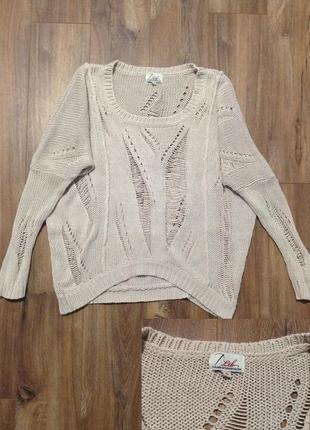 Дизайнерский свитер винтажный с дырками / горячая цена! скидки!