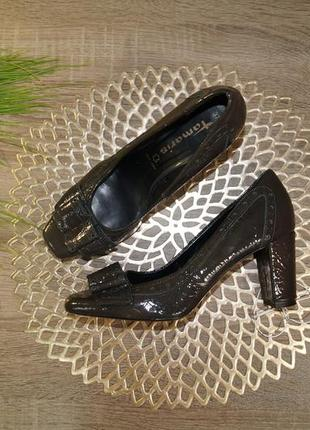 (37/24см) tamaris! кожа! красивые фирменные туфли на удобном каблучке