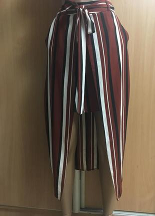 Юбка двойная с запахом,карманами и бантом размер 8