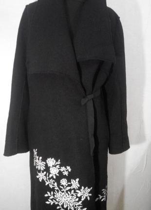Пальто на запах из валяной шерсти с вышивкой 12-14
