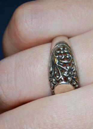 Винтажное кольцо с узорами, с цветами, серебро