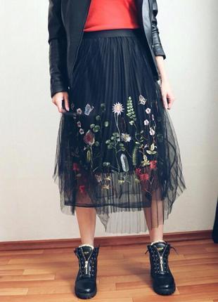 Шикарная юбка миди с вышивкой 🌸