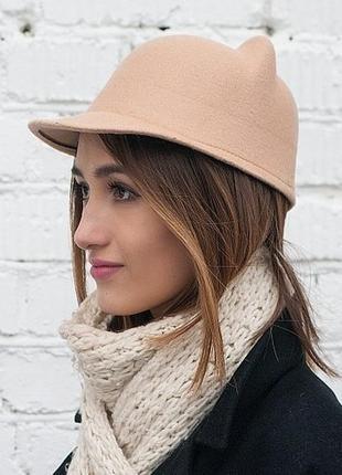 Фетровая шапка-жокейка \ котелок с ушками