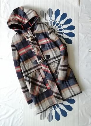 Шерстяное пальто дафлкот в клетку шерсть клетчатое 40% wool  бежевое синее