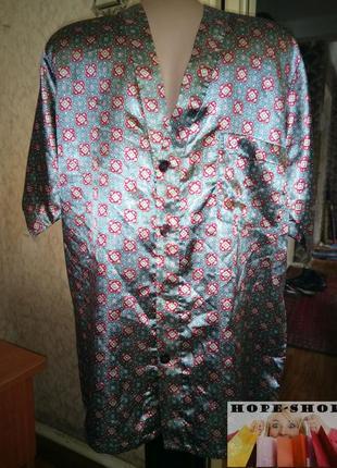 🌙атласная домашняя рубашка,рубашка для сна с коротким рукавом l.распродажа.