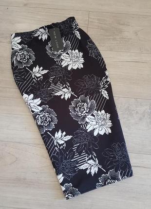 Миди юбка карандаш с цветочным принтом