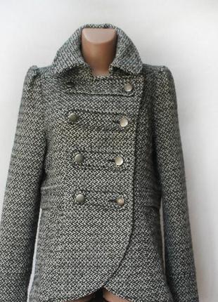 Твидовое короткое. двубортное пальто h&m. на высокий рост