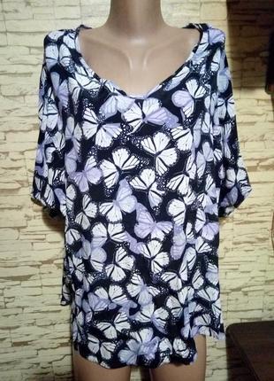 Нарядная натуральная блуза с бабочками