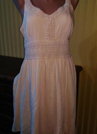 Летний сарофан платье бежевого цвета