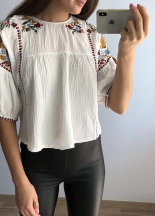 Zara вышыванка блуза