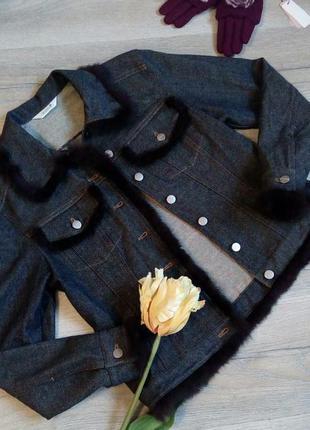 Джинсова куртка з натуральним хутром