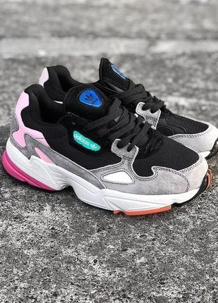 36 37 38 39 40 отличные женские кроссовки adidas falcon black grey pink чёрные белые