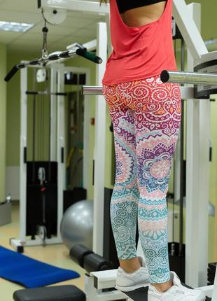 Шикарные лосины леггинсы для спорта, йоги, танцев, зала, бега, прогулок. с принтом