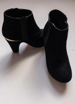 Замшевые ботинки,полусапожки,ботильоны на среднем каблуке