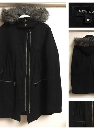Чёрное пальто парка
