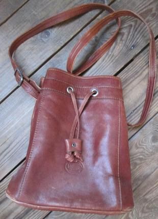 Кожаная сумка, сумка-мешок с длинной ручкой, натуральная кожа
