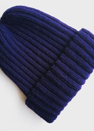 Шапка синяя ручной работы на зиму, шапка теплая базовая, шапка синя!