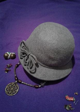 Kрасивая фетровая шляпа ,шерсть ,56-57см.