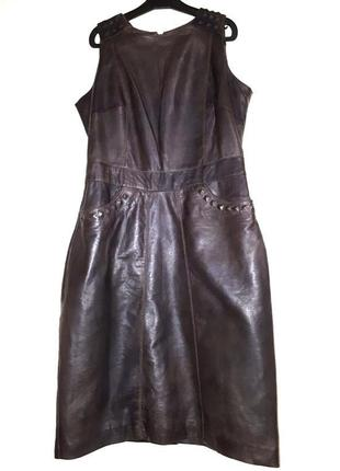 Шикарное кожаное платье футляр из натуральной кожи с подкладой сарафан модное