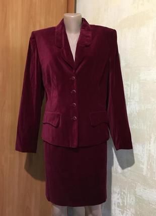 Роскошный бархатный,вилюровый костюм цвета марсала