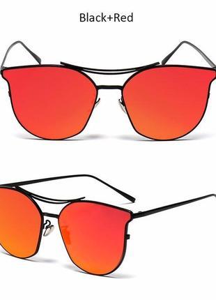 Солнцезащитные очки с усиленной черной оправой метал и антирефлексом на красном зеркале