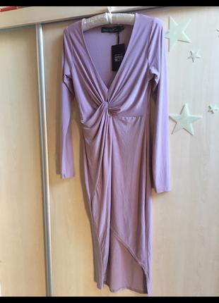 Платье вечернее нарядное с запахом на запах с узлом